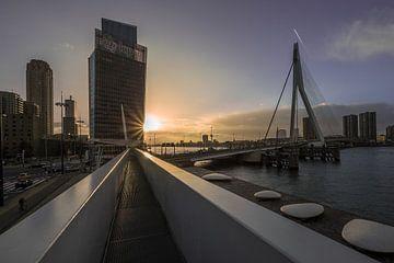 Rotterdam, het KPN-gebouw en de Erasmusbrug bij zonsondergang van Annemieke Klijn
