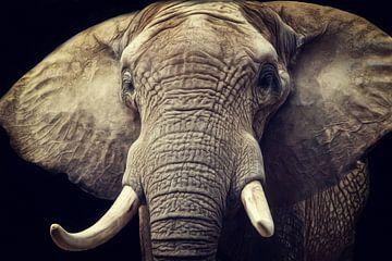 Elefanten Portrait van Angela Dölling