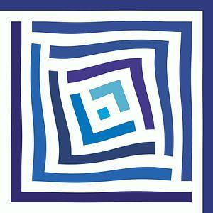 Abstract in blauwe tinten en wit van Maurice Dawson