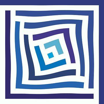 Abstrakt in Blautönen und Weiß von Maurice Dawson