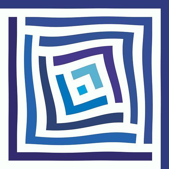 Abstract in blauwe tinten en wit