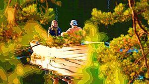 Junges Paar im Ruderboot