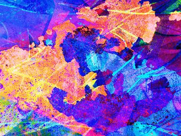 Modern, Abstract Digitaal Kunstwerk in Oranje, Blauw, Roze, Paars van Art By Dominic
