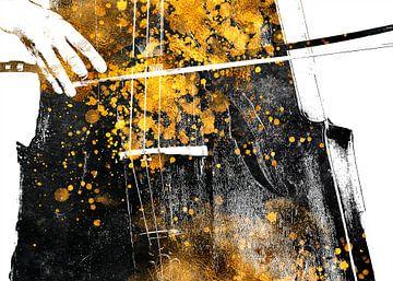 Violoncello 6 muziekkunst goud en zwart #violoncello #muziek van JBJart Justyna Jaszke
