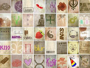 Collage met symbolen, tekst en krabbels van
