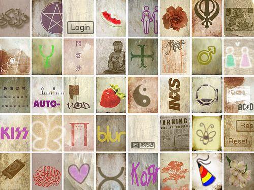 Collage met symbolen, tekst en krabbels van Rietje Bulthuis