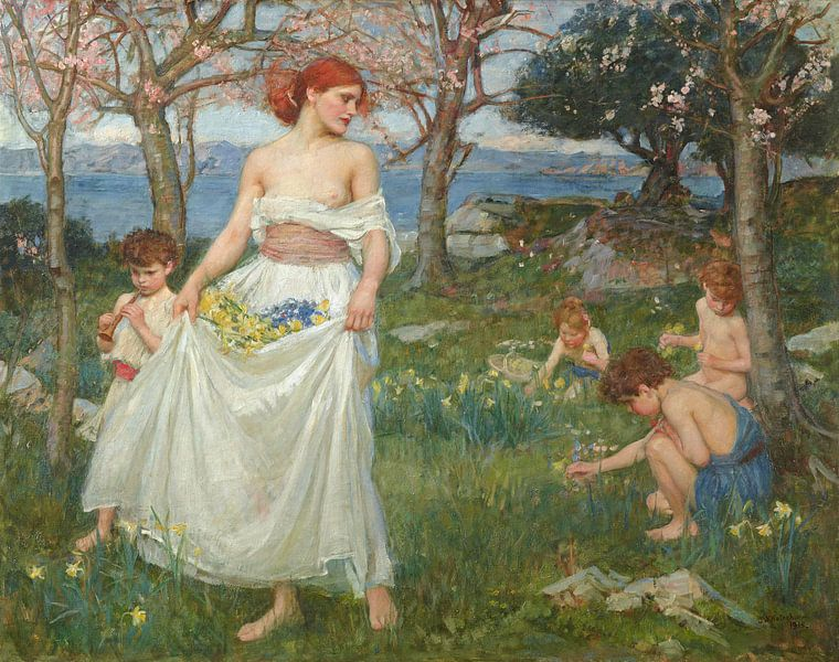John William Waterhouse - A Song of Springtime van 1000 Schilderijen