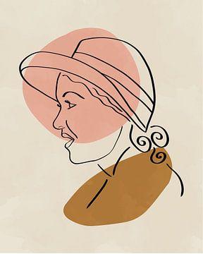Vrouw met hoed minimalistische lijn tekening met twee organische vormen van Tanja Udelhofen