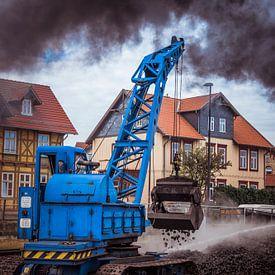 vullen van de locomotief met kolen van CW fotografie