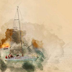 Zeilboot voor de kust van Vlissingen van