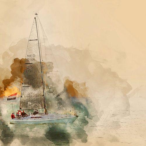 Zeilboot voor de kust van Vlissingen van Art by Jeronimo