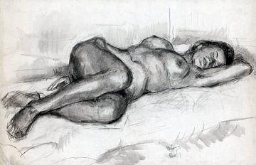 Nacktmodell - Hubertine Heijermans - Holzkohle von Atelier Liesjes