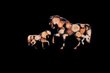 Houten paarden 2 van Catherine Fortin