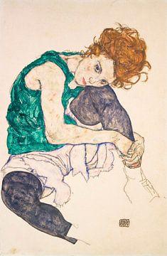 Sitzende Frau mit hochgezogenen Beinen, Egon Schiele