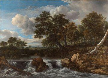 Huegellandschaft mit Wasserfall, Jacob Isaacksz. van Ruisdael von