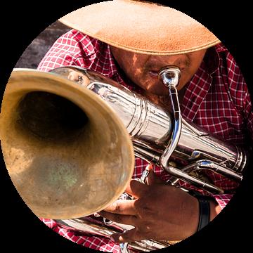 Een muzikant speelt een deuntje op zijn blaasinstrument van Bart van Eijden