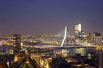 Erasmus-Brücke in Rotterdam bei Nacht von Nisangha Masselink