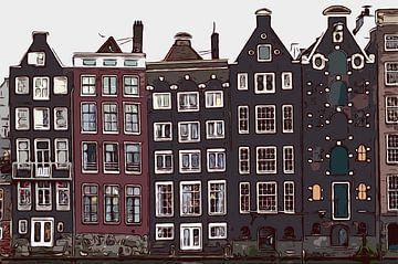 Les maisons du canal à Amsterdam - Pays-Bas, des demeures de luxe avec de belles façades. Maison de  sur Maureen Kroep