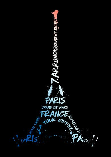 Digital-Art Eiffel Tower | National Colours van Melanie Viola