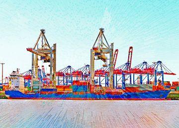 Containerschip in de haven van Leopold Brix