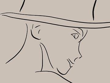 Abstrakte Linienzeichnung Gesicht Frau von Maurice Dawson