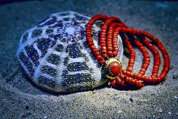 Zee-egel met bloedkoralen halsketting van Evert Jan Looise