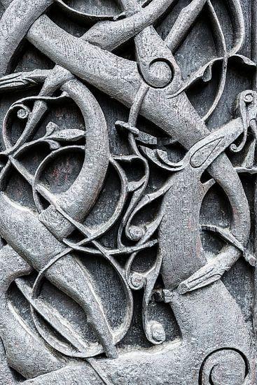 Houtsnijwerk van een Staafkerk in Noorwegen