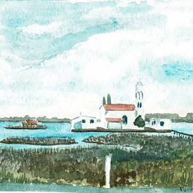 Klooster - Eilandklooster Agios Nikolaos / Άγιος Νικόλαος bij Porto Lagos - Griekenland van ADLER & Co / Caj Kessler