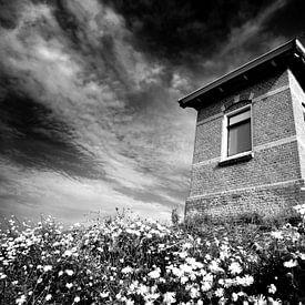 Dijkhuisje, Nederlandse kust (zwart-wit) van Rob Blok