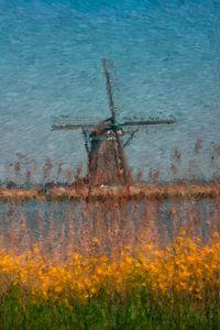 Expressionistisch Hollands landschap met molen. van Hille Bouma