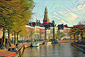Hoge der Aa te Groningen in de stijl van Picasso van Slimme Kunst