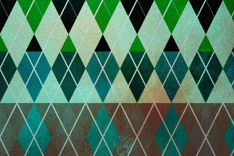 Ruiten. Grafisch patroon in groen tinten van Rietje Bulthuis