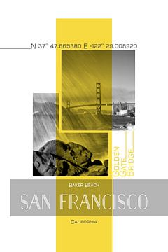 Poster Art SAN FRANCISCO Baker Beach van Melanie Viola