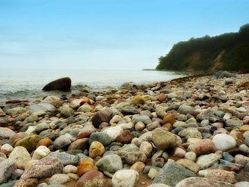 Kiezelstrand  Göhren op het eiland Rugen Duitsland van