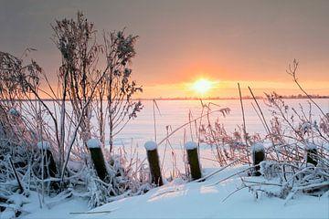 Tjeukemeer, Friesland, Pays-Bas dans le cadre de l'hiver. sur Peter Bolman