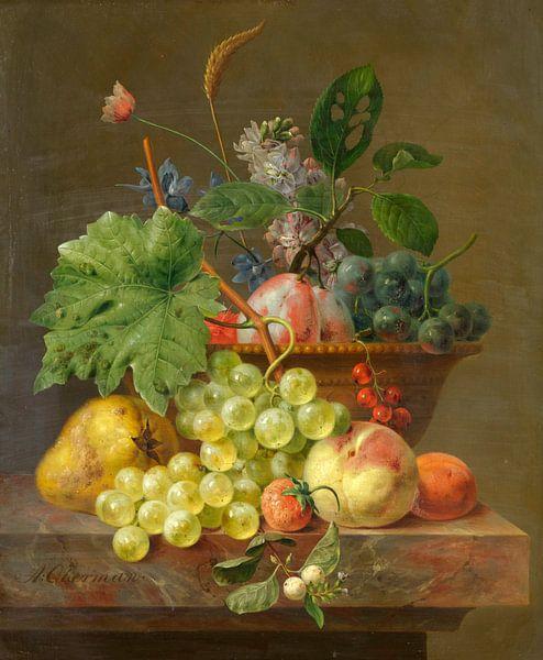Stilleben mit Früchten in einer Terrakotta-Schale, Anthony Oberman von Meesterlijcke Meesters