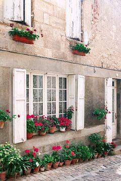 Französische Straße mit Blumen von Evelien Oerlemans
