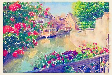 Sommer Colmar Stadt bei Straßburg, Frankreich, Aquarellstil von Ariadna de Raadt