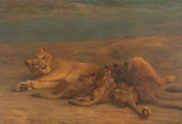 Eine Löwin mit vier säugenden Jungtieren namens 'Motherly Love', John Macallan Swan