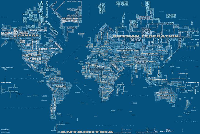 Wereldkaart Typografie, Blauw van MAPOM Geoatlas