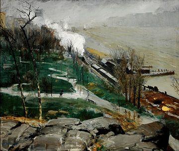 George Bellows-Regen op de rivier