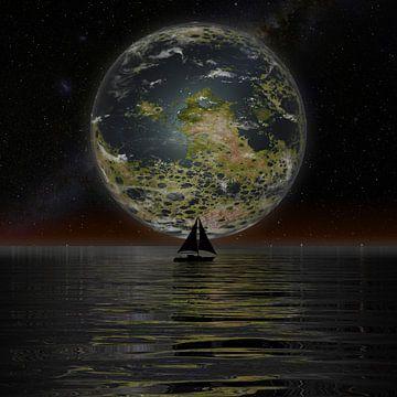 De Nieuwe Maan aan de horizon van