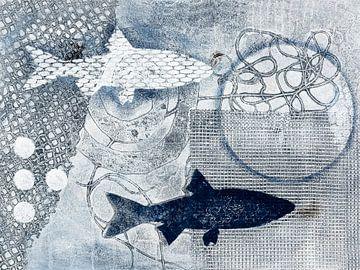Twee vissen in grijsblauw van Lida Bruinen