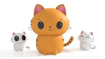 Kat met kittens in Kawaii stijl von Arjan Schrauwen