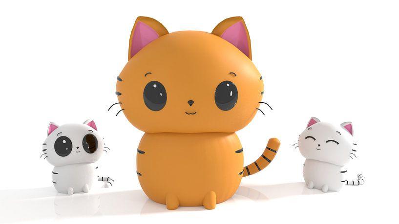 Kat met kittens in Kawaii stijl van Arjan Schrauwen
