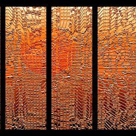 Vierluik, oranje panelen. van Ina Hölzel