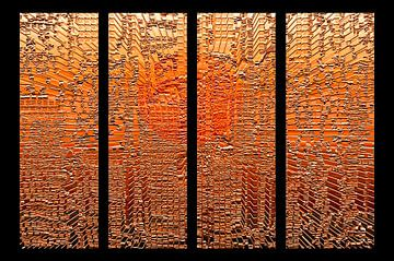 Vierluik, oranje panelen. van