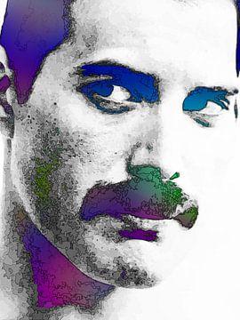 Freddie Mercury Abstract Portret in Paars, Blauw, Groen van Art By Dominic