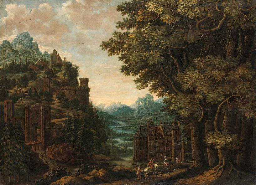 Bergachtig landschap met rivierdal en kastelen, Jan Meerhout van Hollandse Meesters