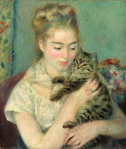 Vrouw met Kat, Auguste Renoir